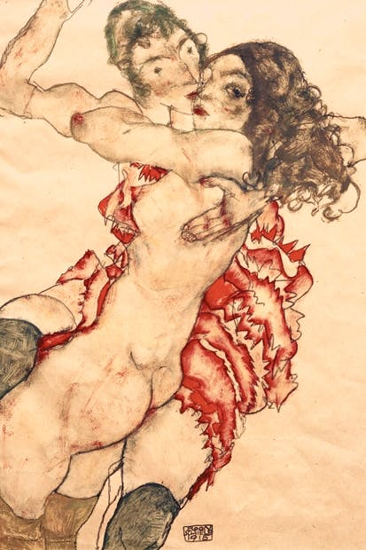 'Two Girls Embracing (Friends)', 1915, by Egon Schiele