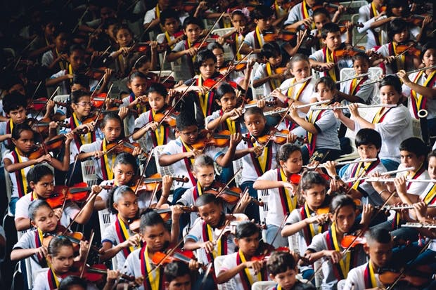 The serried ranks of an El Sistema youth orchestra in Caracas, 2012 — a 'miracle' that's turned very sour