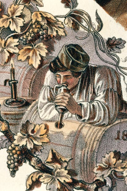Wine tasting in 19th-century Austria