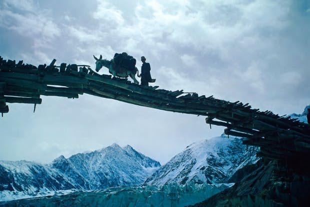 Bridge on the 3,798-metre-high Baroghil Pass, leading from Badakhshan in Afghanistan to northern Pakistan