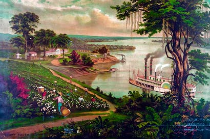 An idealised view of a cotton plantation beside the Mississippi, c. 1880