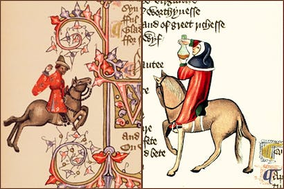 The Merchant (left) and the Physician from the Ellesmere manuscript of the Canterbury Tales