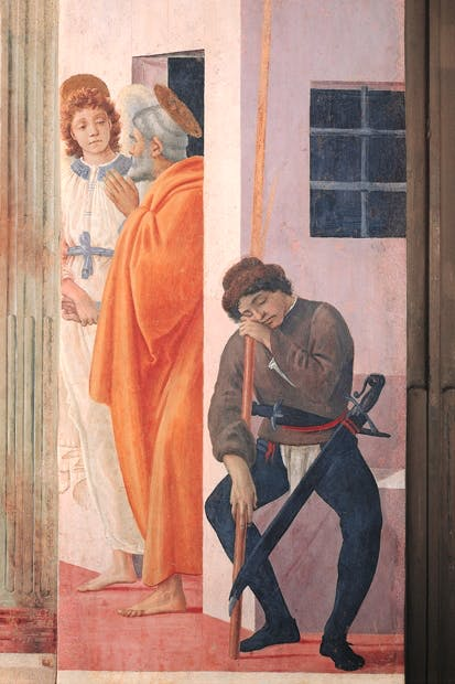 Filippino Lippi's fresco of St Peter being freed from prison by an angel