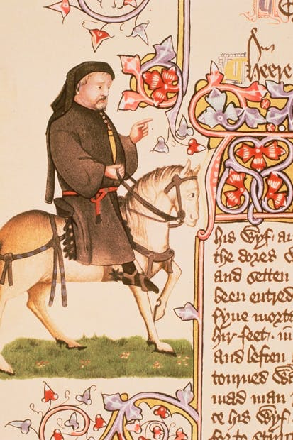 Portrait of Chaucer himself, from the Ellesmere manuscript of the Canterbury Tales