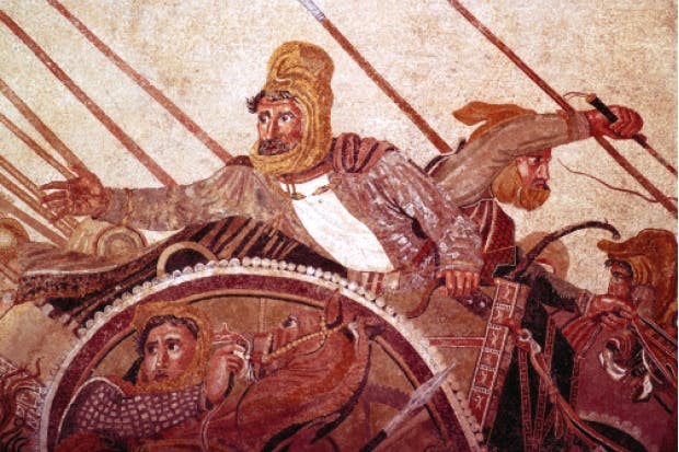 Roman mosaic from Pompeii depicting Darius III at the Battle of Issus (333 BC), in which he was defeated by Alexander the Great