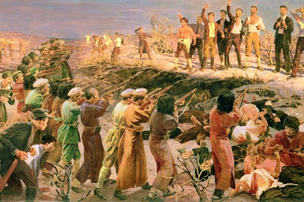 Isaak Israelevich Brodsky's depiction of the execution of the '26 Martyrs', painted in 1925 and already the stuff of Soviet legend