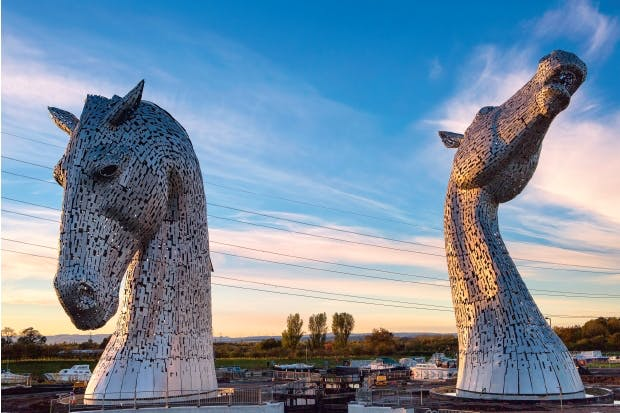 Crazy horses: Andy Scott's Kelpies at sunset
