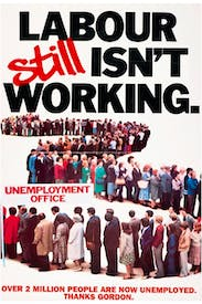 Still life in the old slogan: Maurice Saatchi's famous 1978 poster was adapted three decades later when the unemployment figures were announced in March 2009