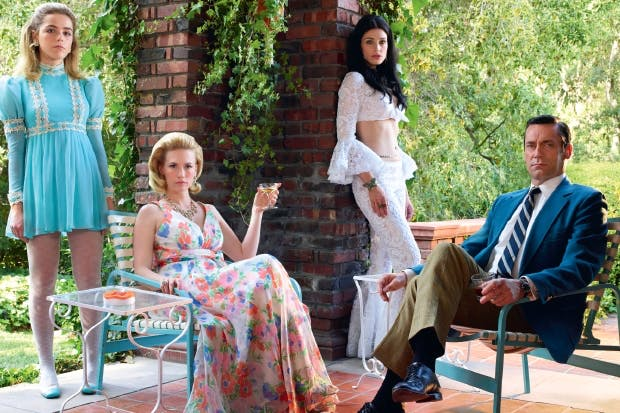 Style council: left to right, Kiernan Shipka (Sally Draper), January Jones (Betty Draper), Jessica Paré (Megan Draper), Jon Hamm (Donald Draper)