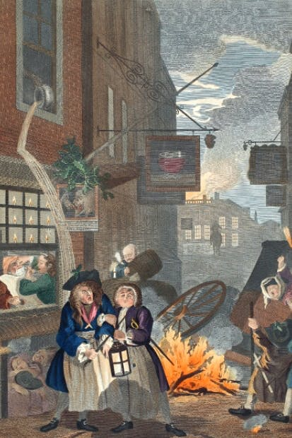 William Hogarth's 'Night', in his series 'Four Times of the Day' (1736), provides a glimpse of the anarchy and squalor of London's nocturnal streets