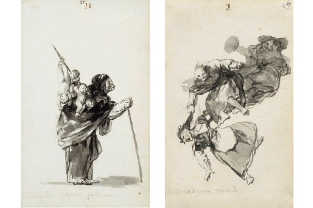 Left: 'Dream of a good witch', c.1819–23, by Goya Right: 'Bajan niñendo (They descend quarrelling)', c.1819–23, by Goya