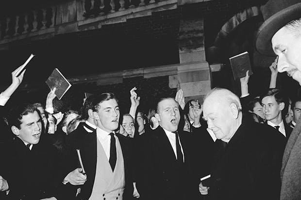 Churchill returns to Harrow, his alma mater, in 1960