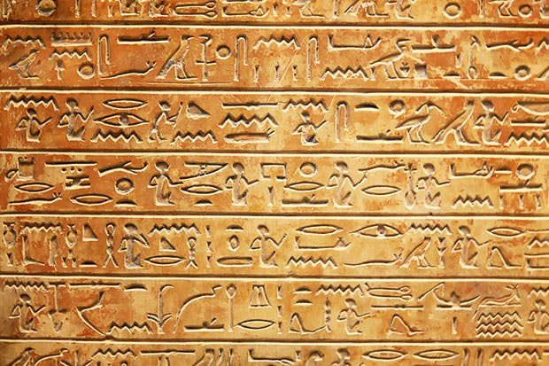 The writing on the wall: some of the well-preserved hieroglyphs at Karnak