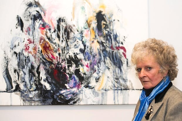 Forces of nature: Maggi Hambling with 'Amy Winehouse', a painting exhibited at her Walls of Water show last year
