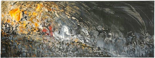 Maggi Hambling, Battlefield XVIII, Oil on canvas, 2014, 12 x 31 1-2 ins, Photograph by Douglas Atfield