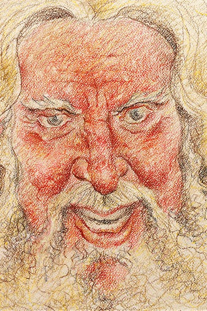 Self-portrait as Falstaff. Sher finds drawing a form of therapy and infinitely preferable to acting