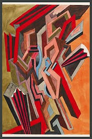Study for the lost painting 'Two-Step: abstract design with orange and green background', 1915, by William Roberts