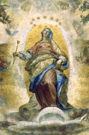 Following Galileo's discoveries, a rugged, cratered moon is depicted (with papal approval) by Ludovico Cigoli in his 'Assumption of the Virgin in the Pauline Chapel'