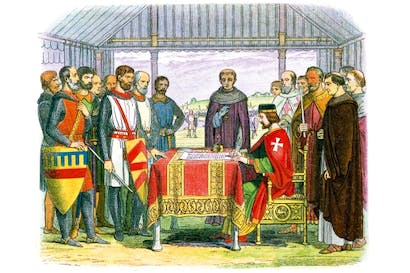 King John at Runnymede: at odds with his barons, he came to rely on mercenaries whom he couldn't afford