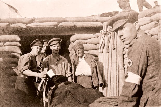 RAMC stretcher-bearers from the South Eastern Mounted Brigade enter the Field Ambulance dressing station at Y Ravine. Picture courtesy of Stephen Chambers