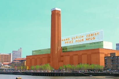 Superstar curators like Hans Ulrich Obrist tour the world making items desirable through their selection alone, while paranoically insisting that what they do is 'work'. Study for Tate Modern Sign (Bill Burns, 2012)