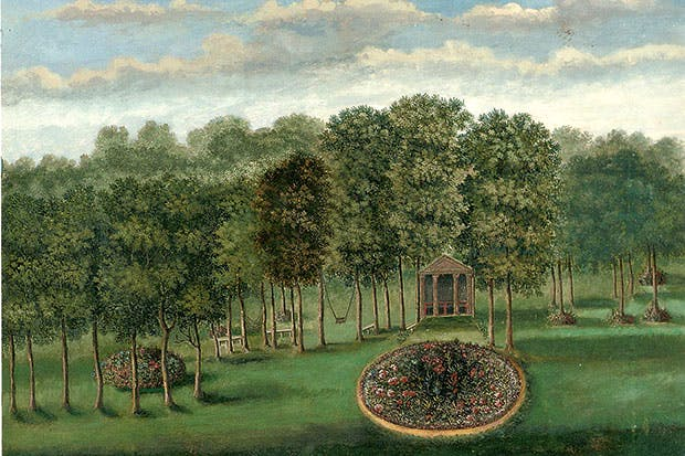 Temple Flower Garden' of Richard Bateman's Grove House, Old Windsor,Berkshire, 1730