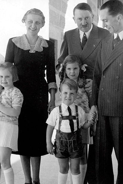 Hitler with the Goebbels family in the late 1930s