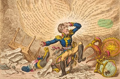 James Gillray's 'Maniac Ravings or Little Boney in a Strong Fit' (published 24 May 1803). From Bonaparte and the British: Prints and Propaganda in the Age of Napoleon by Tim Clayton and Sheila O'Connell (The British Museum, £25, pp. 246, ISBN 9780714126937). The book accompanies an exhibition at the British Museum until 16 August