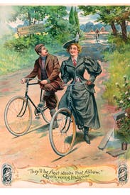 The romance of cycling is suggested in this advertisement for Columbia Bicycles, with its quotation from 'Lochinvar'