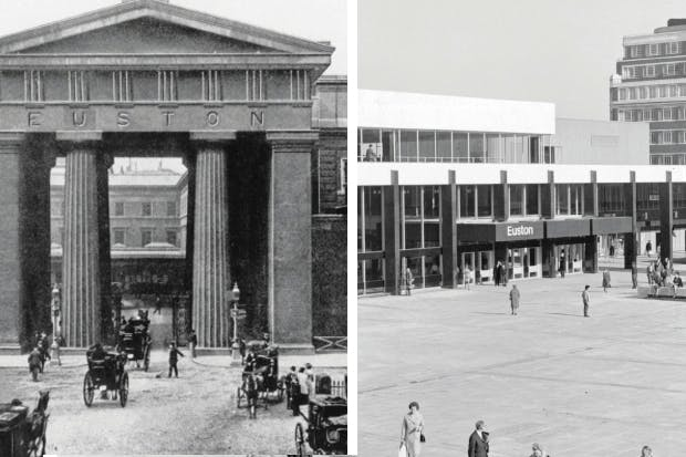 Arch enemies: Euston Arch (left), torn down to make way for London's most miserable train station (right)