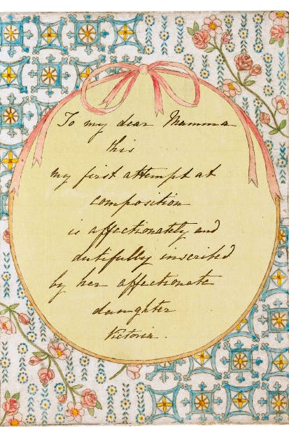 Inscription from Victoria's notebook, dedicating her composition to 'my dear Mamma'