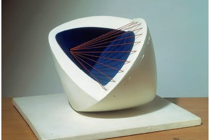 'Sculpture with Colour (Deep Blue and Red) [6]', 1943, by Barbara Hepworth