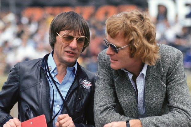 Ecclestone and Mosley at Brands Hatch in 1978 — a double-act worthy of Ealing Studios