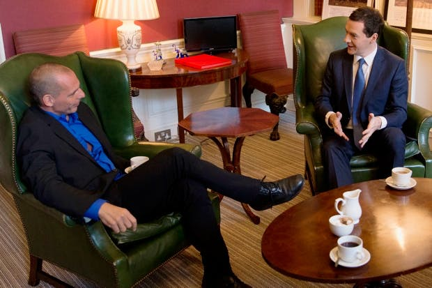 George Osborne meets former Greek finance minister Yanis Varoufakis (Photo: Getty)