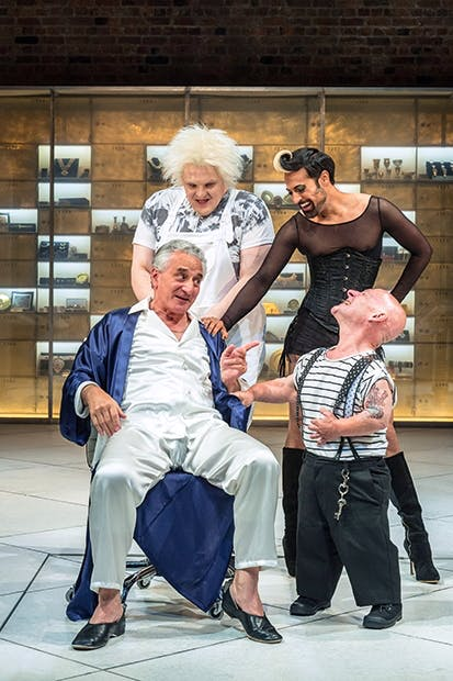 Volpone and his coterie of misfits, L–R from the back: Julian Hoult (Castrone), Ankur Bahl (Androgyno), Henry Goodman (Volpone) and Jonathan Key (Nano)