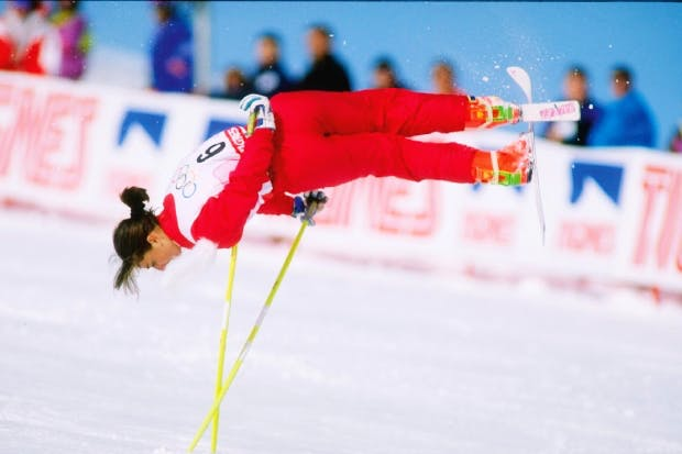 Looking idiotic: Cathy Fechoz performs ski ballet at the Olympic Games, Albertville, 1992. The sport no longer exists