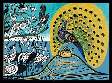 The artists of Essex: 'Peacock and Magpie', linocut, Edward Bawden, 1970
