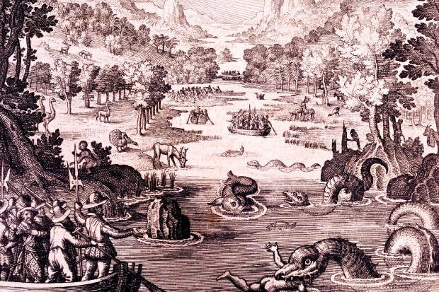 'The Discovery of the Large, Rich, Beautiful Empire called Guiana', from 'Newe Weld un Americanische Historien', by Johann Ludwig Gottfried, 1631