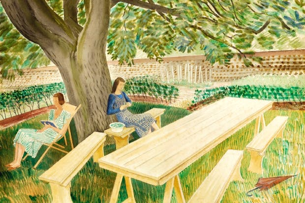 Ravilious in Essex: 'Two Women in the Garden', watercolour, 1932