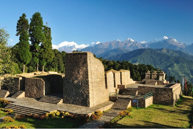 Rabdentse, near Pelling, the ruined former capital of Sikkim, with Mount Kanchenjunga in the distance