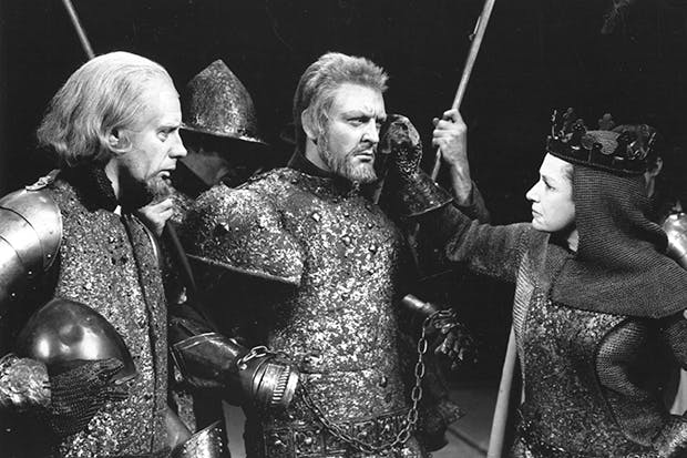 The way we were: Dame Peggy Ashcroft as Queen Margaret, with Donald Sinden and cast members, in the Royal Shakespeare Company's 'Wars of the Roses', Stratford, 1963