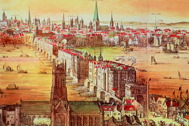 The city became cacophonous with bells: a detail of Claes Visscher's famous early 17th-century panorama shows old London Bridge and some of the 114 church steeples that constantly tolled the death knells of plague victims