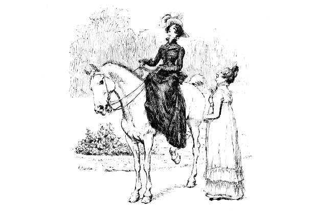 With rain threatening, Jane Bennet departs for Netherfield — with her mother's approval. Illustration by Hugh Thomson for Pride and Prejudice (1894)