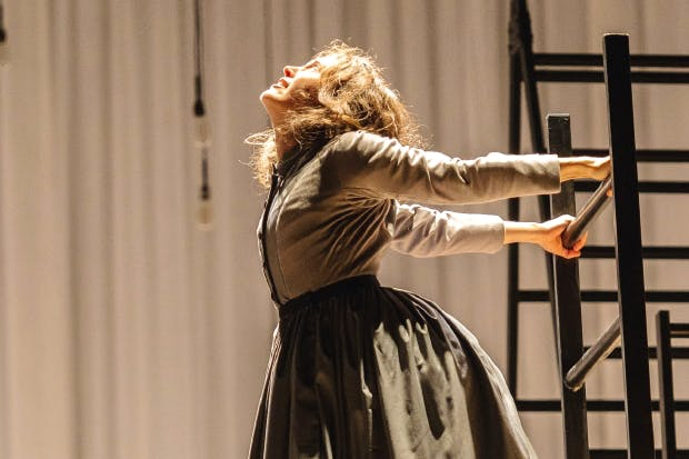'I want to break free-eee!': Madeleine Worrall as Jane, the 19th century's Freddie Mercury, in 'Jane Eyre' at the Lyttelton