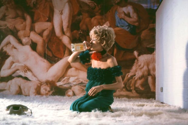 Margit Carstensen as Petra, downing gin and grovelling on her deep-pile carpet, in 'The Bitter Tears of Petra von Kant'