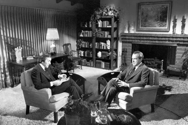 Frost was an effective interviewer because he was never combative — hence the famous admission of failure that he extracted from Nixon in 1974 (above) and from Blair in 2003
