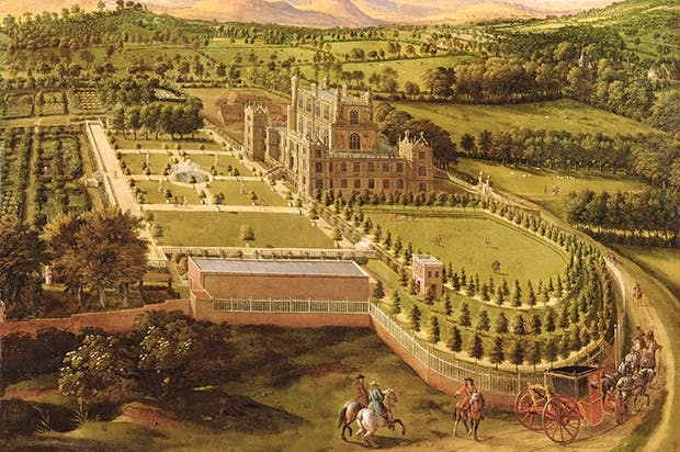 Wollaton Hall, Nottingham, from the east, painted by the Flemish artist Jan Siberechts in 1695. In the foreground the D-shaped bowling green sits on a raised terrace with a banqueting house on its southern side