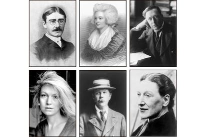 Clockwise from top left: Rudyard Kipling, Hannah More, M.R. James, Elizabeth Bowen, Arthur Conan Doyle and Candia McWilliam