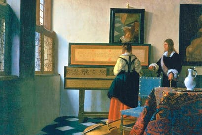 'Lady at the Virginal with a Gentleman' or 'The Music Lesson', 1662–5, by Vermeer