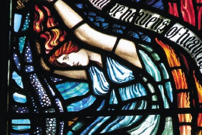 Walter Crane and James Silvester Sparrow, detail of Psalm 148, window (1896), Holy Trinity Church, Hull, Yorkshire. From Arts & Crafts Stained Glass, by Peter Cormack (Yale)